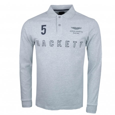 Polo rugby Hackett gris Aston Martin slim fit pour homme