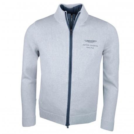 Veste maille et nylon Hackett grise Aston Martin pour homme