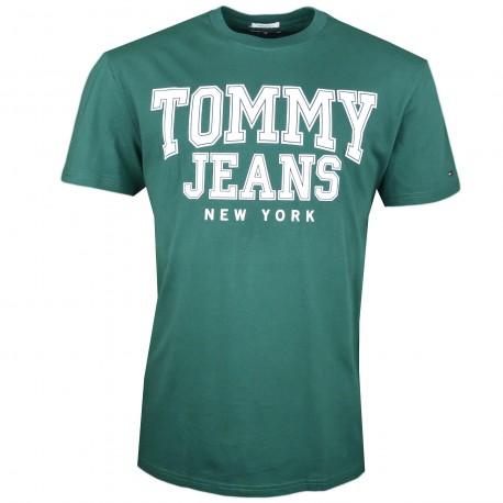 T-shirt col rond Tommy Jeans vert New York régular pour homme
