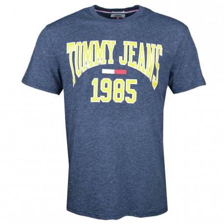 T-shirt col rond Tommy Jeans bleu marine irisé et jaune régular pour homme