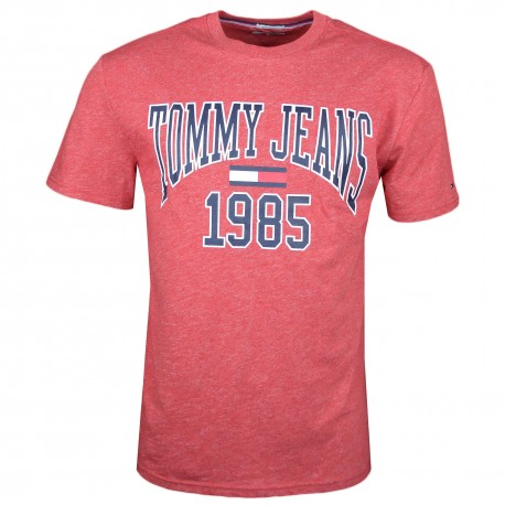 T-shirt col rond Tommy Jeans rouge irisé 1985 régular pour homme