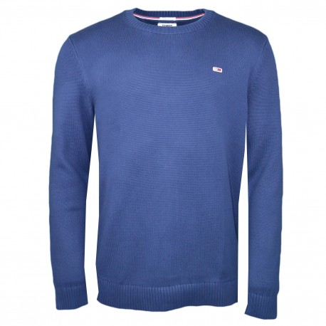 Pull col rond Tommy Jeans bleu marine maille régular pour homme