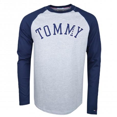 T-shirt manches longues Tommy Jeans bleu marine et gris col rond régular pour homme