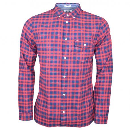 Chemise tartan Tommy Jeans à carreaux bleu marine et rouge régular pour homme