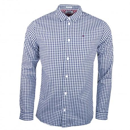 Chemise Tommy Jeans à carreaux bleu marine et blanc régular pour homme