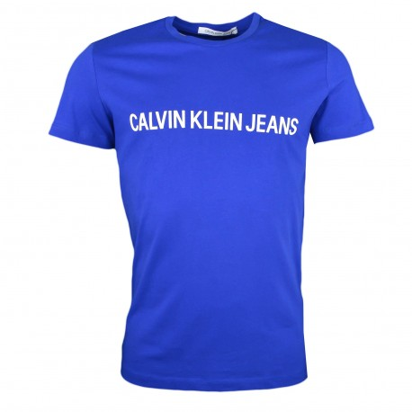 T-shirt col rond Calvin Klein Jeans bleu pour femme