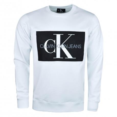 Sweat fin Calvin Klein Jeans blanc col rond logo flocage noir pour homme