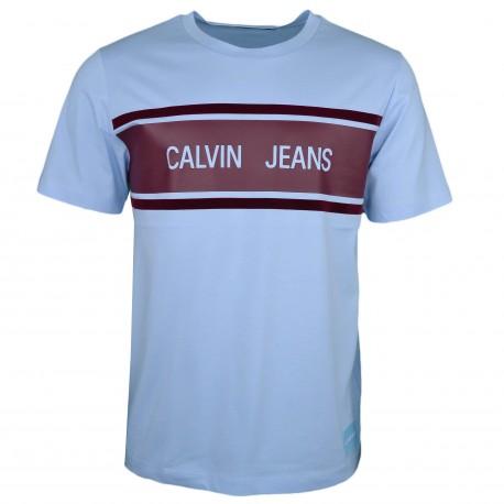 T-shirt col rond Calvin Klein Jeans bleu ciel logo bandeau bordeaux régular pour homme