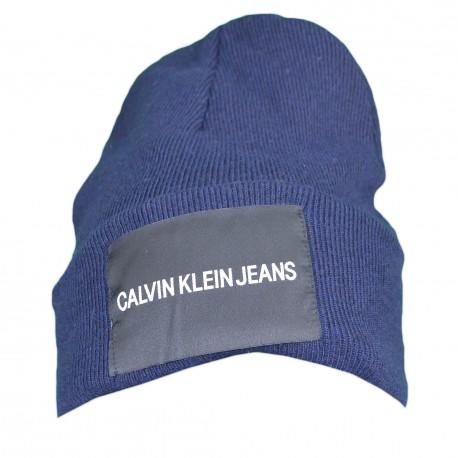 Bonnet Calvin Klein Jeans bleu marine laine cachemire pour homme