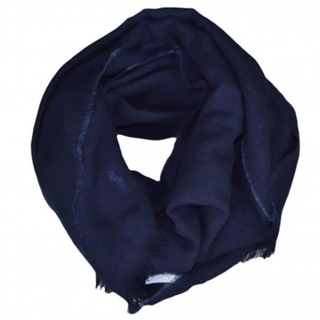 Echarpe luxueuse Ralph Lauren bleu marine en lin et laine pour homme
