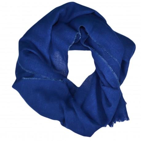 Echarpe luxueuse Ralph Lauren bleu en lin et laine pour homme