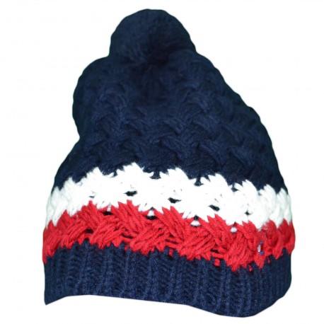 Bonnet tricoté Tommy Hilfiger bleu marine en laine pour homme