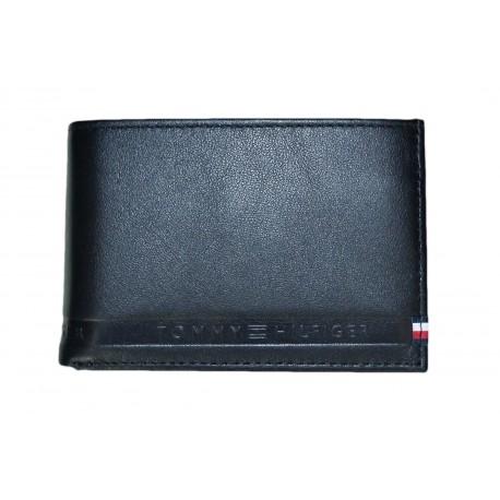 Mini portefeuille Tommy Hilfiger noir en cuir pour homme