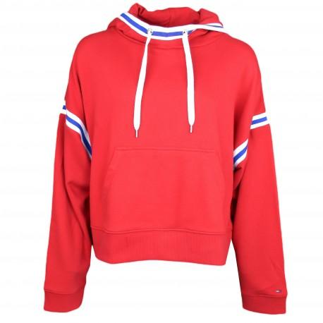 Sweat à capuche Tommy Jeans rouge pour femme