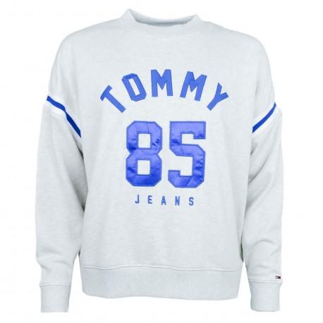 Sweat col rond Tommy Jeans gris et bleu pour femme