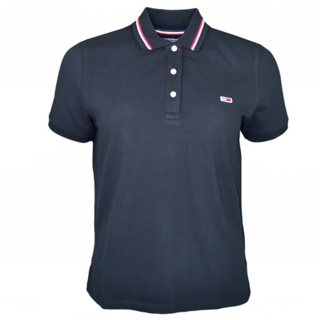 Polo Tommy Jeans noir lisérés rouge et blanc pour femme