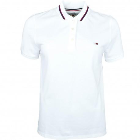 Polo Tommy Jeans blanc lisérés bleu marine et rouge pour femme
