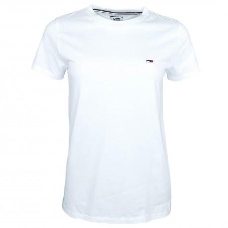 T-shirt col rond Tommy Jeans blanc pour femme