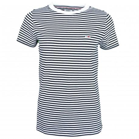 T-shirt col rond Tommy Jeans à rayures bleu marine et blanche pour femme