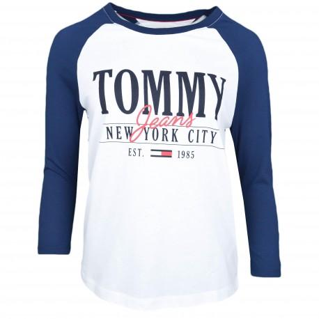 T-shirt manches 3/4 Tommy Jeans bleu marine et blanc pour femme