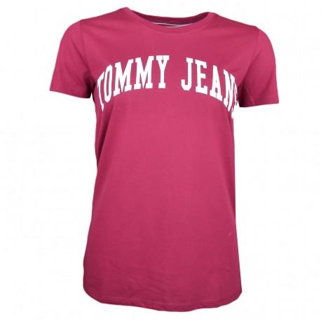 T-shirt col rond Tommy Jeans rouge bordeaux flocage blanc pour femme