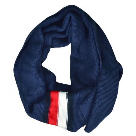 Echarpe Tommy Hilfiger bleu marine bandes bleu blanc rouge pour homme