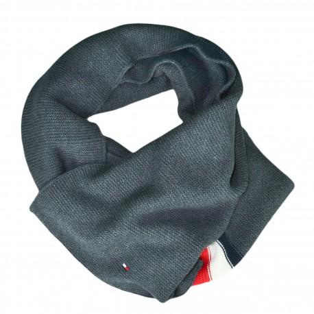 Echarpe Tommy Hilfiger grise bandes bleu blanc rouge pour homme