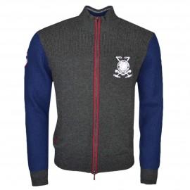 Gilet zippé Hackett gris et bleu marine en laine pour homme