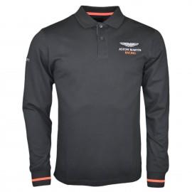 Polo manches longues Hackett Aston Martin noir et orange pour homme