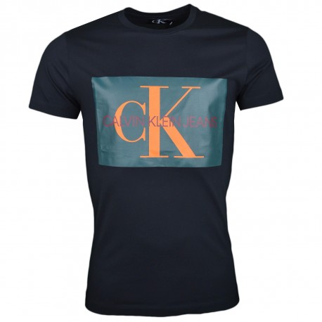 T-shirt col rond Calvin Klein noir logo floqué vert et orange pour homme