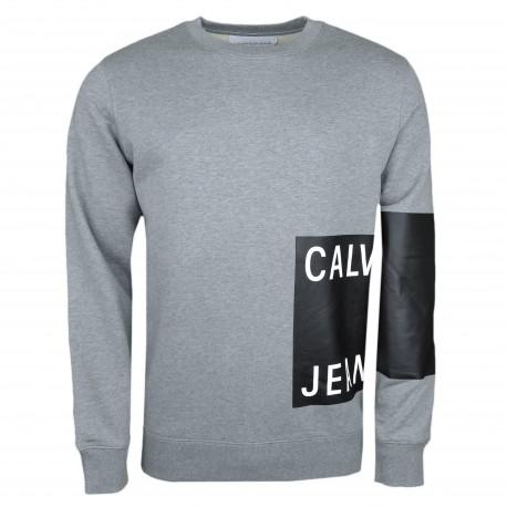 Sweat col rond Calvin Klein gris flocage carré noir pour homme