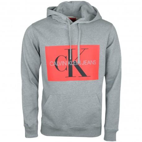 Sweat à capuche Calvin Klein gris flocage carré rouge pour homme