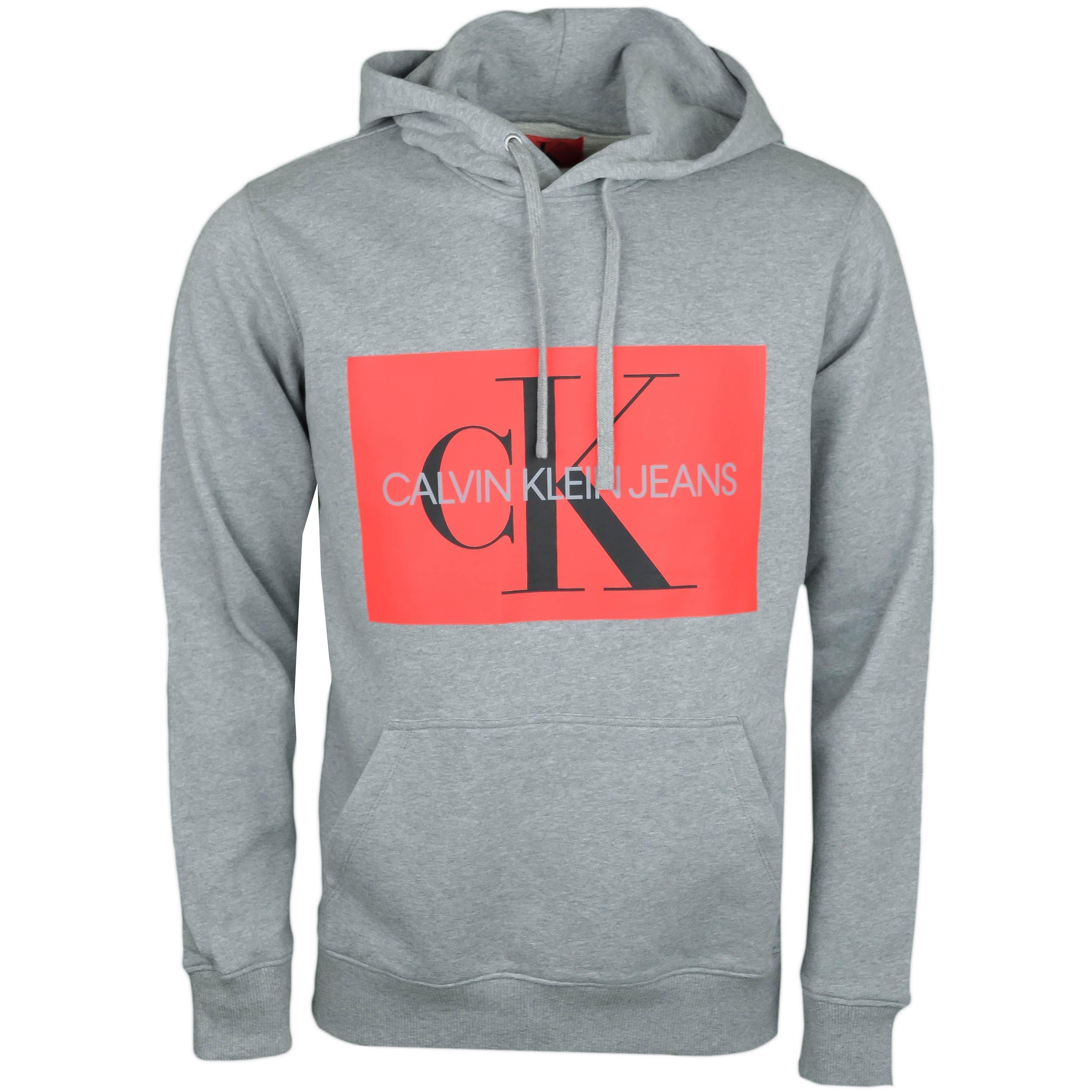 à bas prix factory modélisation durable Sweat à capuche Calvin Klein gris flocage carré rouge pour homme - ...