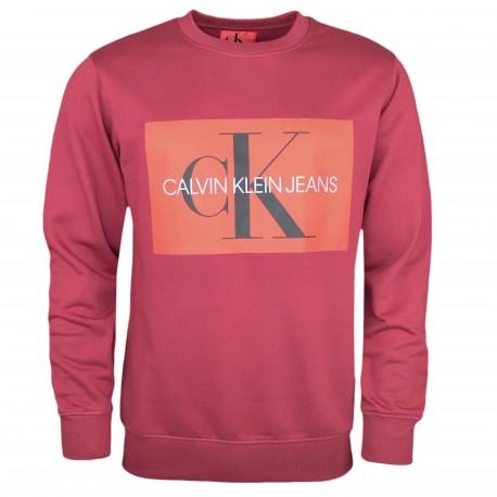Sweat col rond Calvin Klein rouge bordeaux flocage carré rouge pour homme