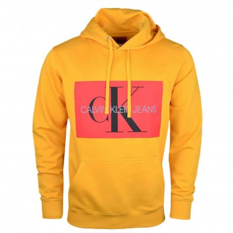 Sweat à capuche Calvin Klein jaune flocage carré rouge pour homme