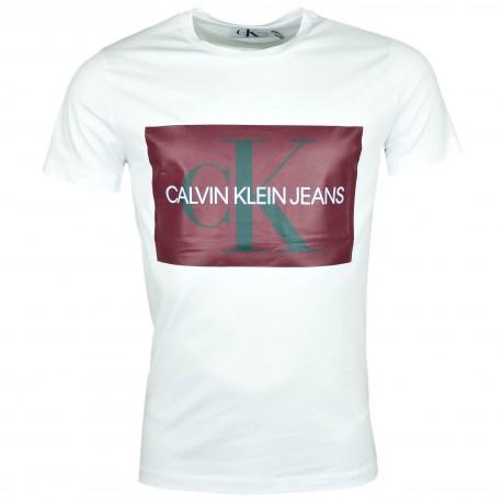 T-shirt col rond Calvin Klein blanc flocage carré rouge bordeaux pour homme