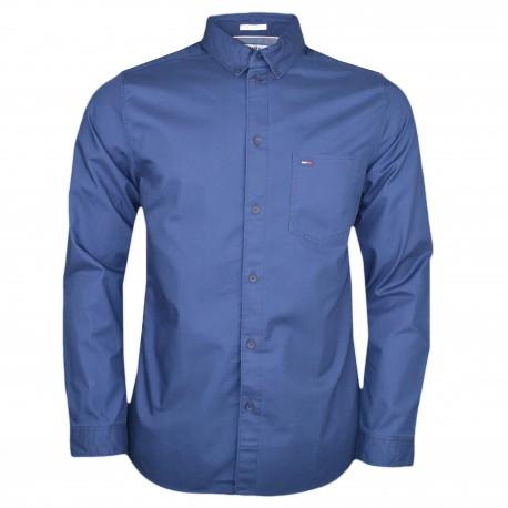 Chemise Tommy Jeans bleu marine avec poche régular pour homme