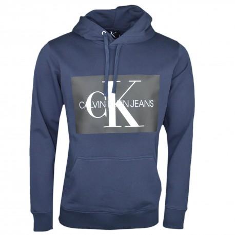 Sweat à capuche bleu marine Calvin Klein flocage carré noir pour homme