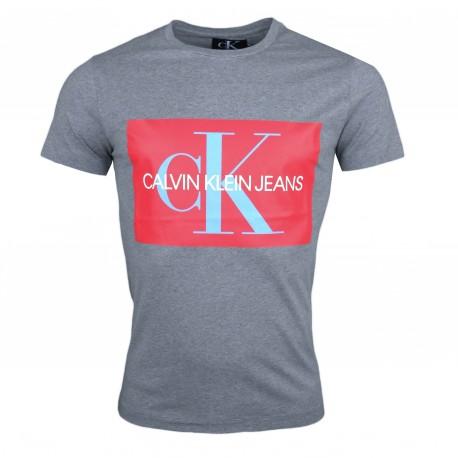 T-shirt col rond Calvin Klein gris et rouge pour homme