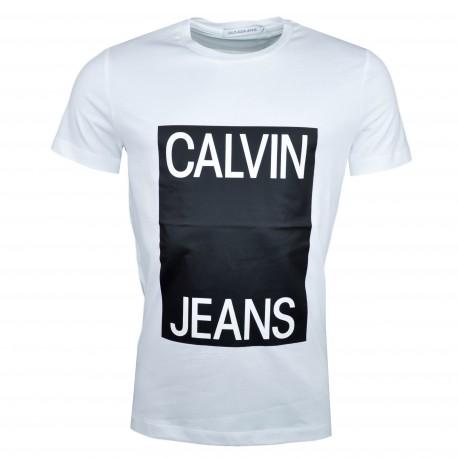 T-shirt col rond Calvin Klein blanc flocage noir pour homme