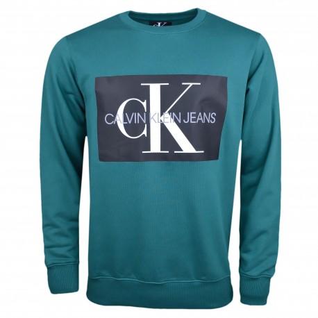Sweat Calvin Klein vert flocage noir pour homme