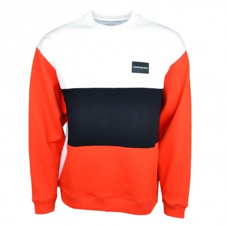 Sweat ample Calvin Klein blanc rouge et noir pour homme