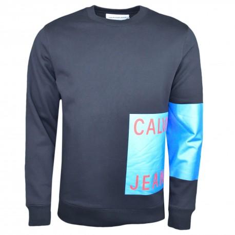Sweat col rond Calvin Klein noir flocage bleu pour homme