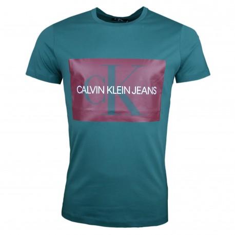 T-shirt col rond Calvin Klein vert pour homme
