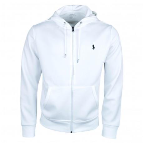 Veste zippée à capuche Ralph Lauren blanche logo noir pour homme