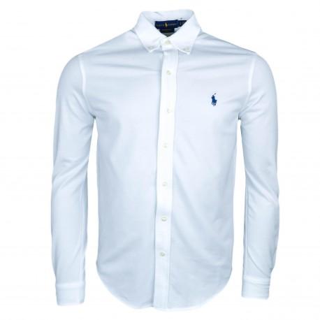 Chemise Ralph Lauren blanche en coton piqué régular pour homme