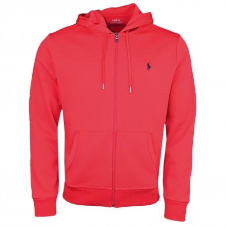 Veste zippée à capuche Ralph Lauren rouge pour homme
