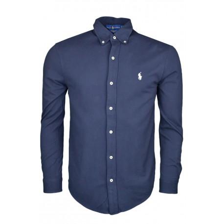 Chemise Ralph Lauren bleu marine en coton piqué pour homme
