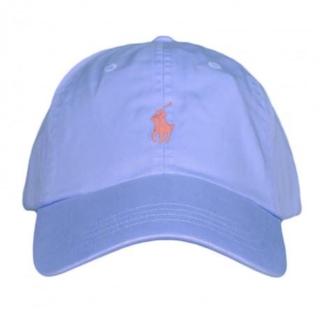Casquette Ralph Lauren bleu ciel logo orange pour homme