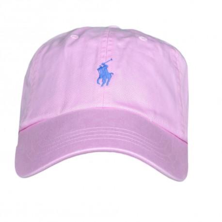 Casquette Ralph Lauren rose logo bleu mixte